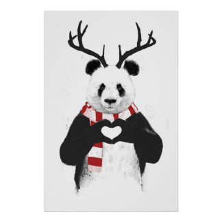 Panda de Navidad Póster