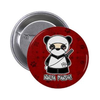 ¡Panda de Ninja En botón rojo Pin
