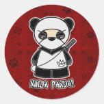 ¡Panda de Ninja! En pegatina rojo
