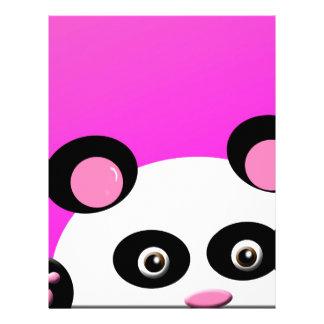 Panda de Pandie en fondo rosado Plantillas De Membrete