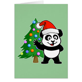 Panda de Papá Noel Tarjeta De Felicitación