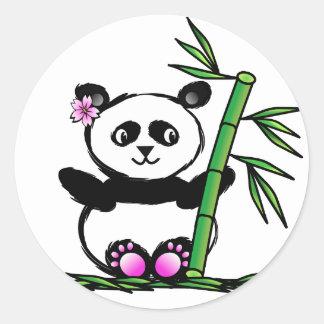 Panda de Sakura Pegatina Redonda