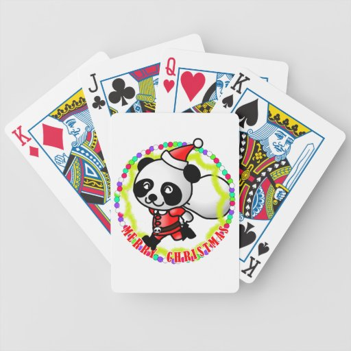 Panda de Santa de las Felices Navidad Barajas De Cartas