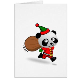 Panda de Santa que corre con un bolso lleno de jug Felicitación