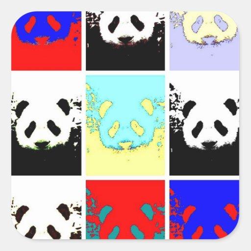 Panda del arte pop pegatina cuadrada