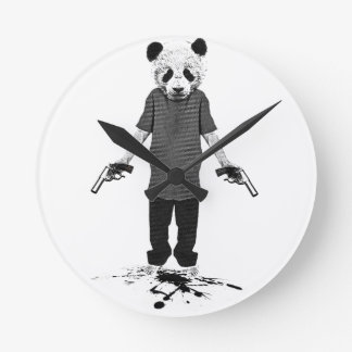 Panda del asesino reloj redondo mediano