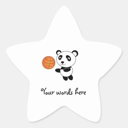 Panda del baloncesto pegatina en forma de estrella