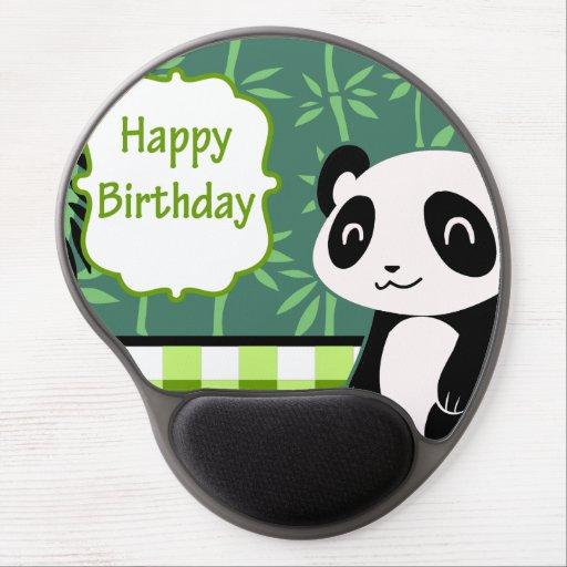 Panda del bambú del verde del feliz cumpleaños alfombrillas con gel