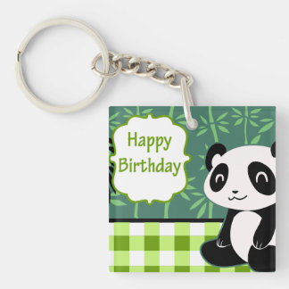 Panda del bambú del verde del feliz cumpleaños llavero cuadrado acrílico a doble cara