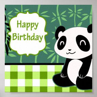 Panda del bambú del verde del feliz cumpleaños impresiones