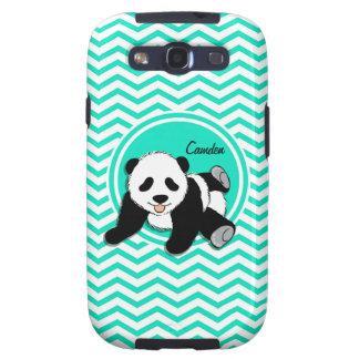 Panda del bebé Aguamarina Chevron verde Galaxy SIII Carcasas