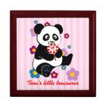 Panda del bebé con el lollipop joyero cuadrado grande