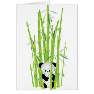 Panda del bebé en el bosque de bambú tarjeta de felicitación