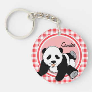 Panda del bebé; Guinga roja y blanca Llavero Redondo Acrílico A Doble Cara