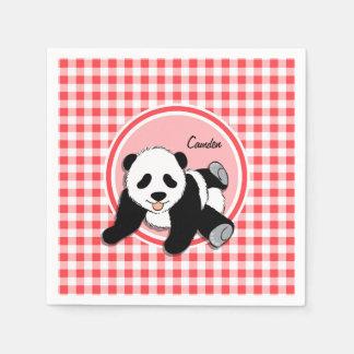 Panda del bebé; Guinga roja y blanca Servilletas De Papel