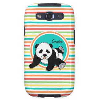 Panda del bebé Rayas brillantes del arco iris Samsung Galaxy S3 Protectores
