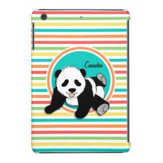 Panda del bebé Rayas brillantes del arco iris Fundas De iPad Mini Retina