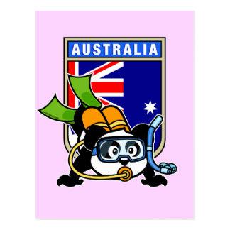 Panda del buceo con escafandra de Australia Postales