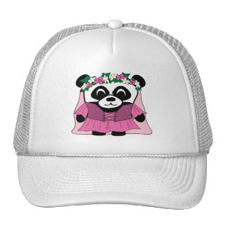 Panda del chica en vestido rosado del renacimiento gorras