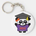 Panda del chica graduado púrpura y del naranja 201 llaveros personalizados