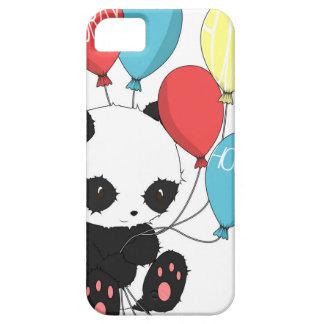 Panda del cumpleaños con los globos funda para iPhone 5 barely there