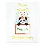 Panda del cumpleaños invitación 10,8 x 13,9 cm