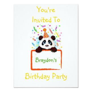 """Panda del cumpleaños invitación 4.25"""" x 5.5"""""""