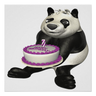 Panda del cumpleaños posters