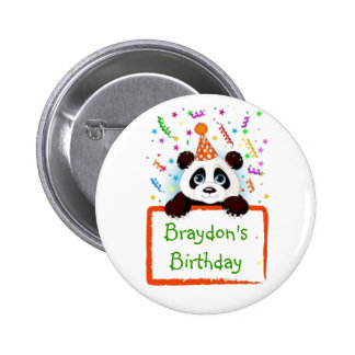 Panda del cumpleaños pin redondo 5 cm