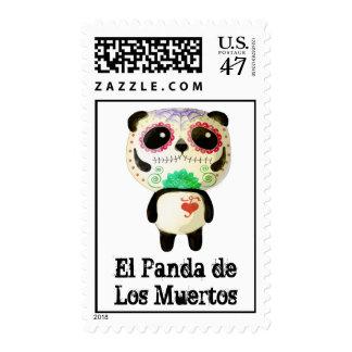 Panda del día de los muertos estampilla