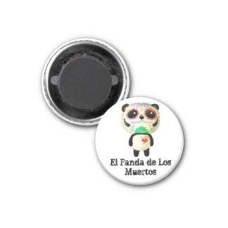 Panda del día de los muertos imán redondo 3 cm