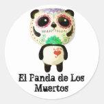 Panda del día de los muertos pegatina redonda