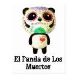 Panda del día de los muertos postal