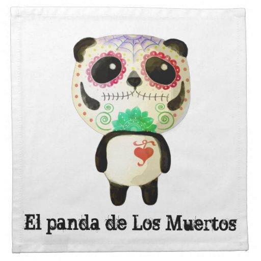 Panda del día de los muertos servilleta de papel