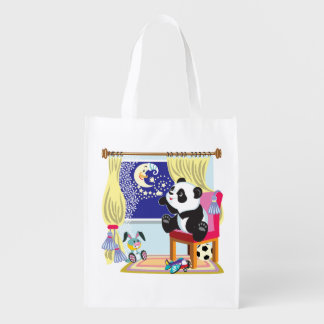 panda del dibujo animado bolsa reutilizable