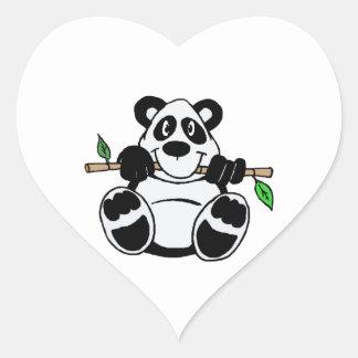 Panda del dibujo animado pegatina de corazon personalizadas