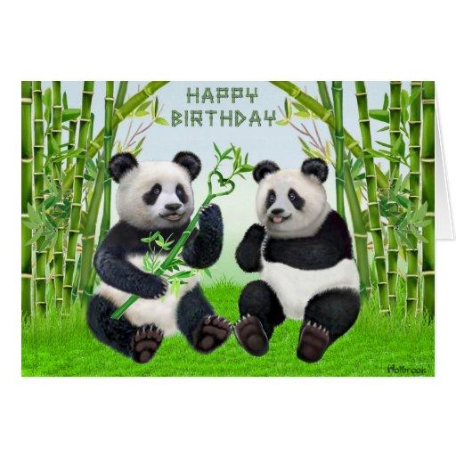 Panda del feliz cumpleaños felicitaciones | Zazzle