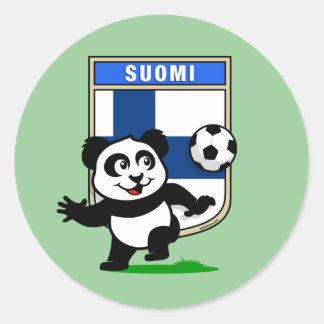 Panda del fútbol de Finlandia Pegatina Redonda