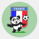 Panda del fútbol de Francia Etiquetas Redondas