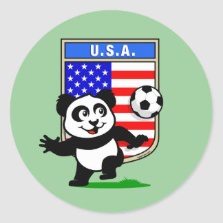 Panda del fútbol de los E.E.U.U. Pegatinas Redondas