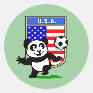 Panda del fútbol de los E E U U Pegatinas Redondas