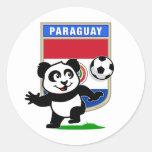 Panda del fútbol de Paraguay Pegatina Redonda