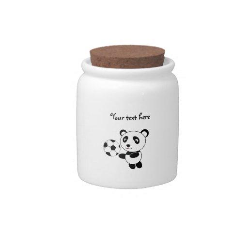 Panda del fútbol plato para caramelo