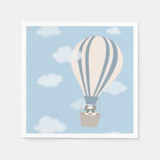 Panda del inconformista en el globo del aire servilletas de papel