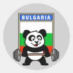 Panda del levantamiento de pesas de Bulgaria Etiquetas Redondas