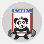 Panda del levantamiento de pesas de Canadá Etiqueta Redonda