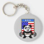 Panda del levantamiento de pesas de los E.E.U.U. Llavero Personalizado