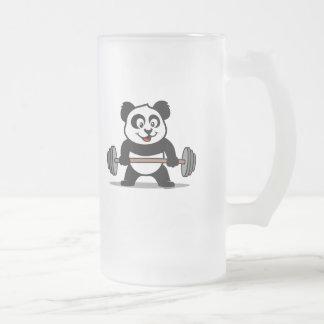 Panda del levantamiento de pesas taza cristal mate