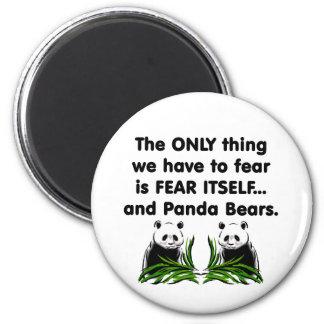 Panda del miedo sí mismo imán redondo 5 cm
