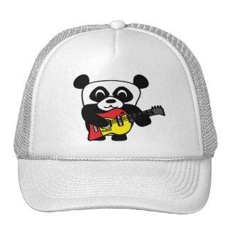 Panda del muchacho con la guitarra eléctrica gorros bordados